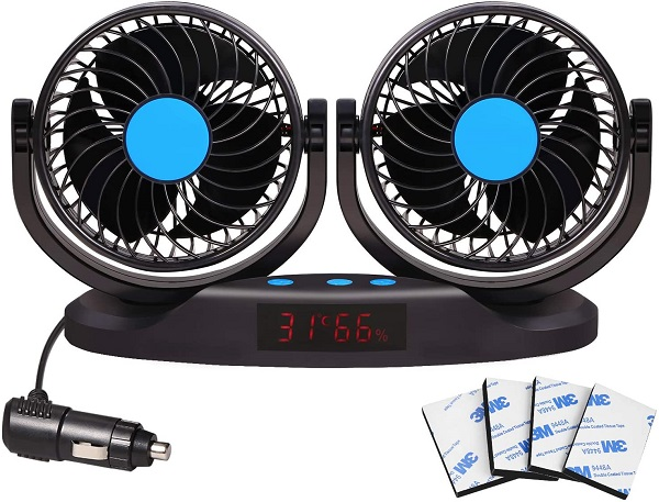Excoup 12v Vehicle Fan with 12 Speeds