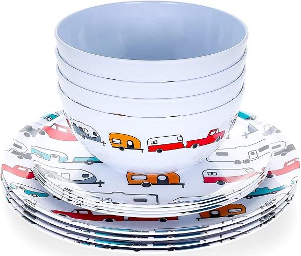 Camco Campsite 12 Piece Dishware Set