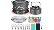 Odoland 22 pcs Camping Cookware Mess Kit Small