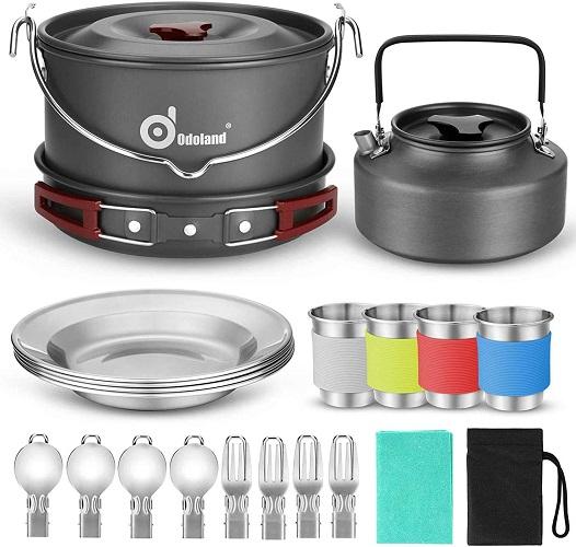 Odoland 22 pcs Camping Cookware Mess Kit