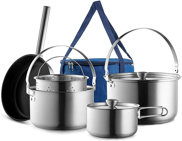 Travel Stainless Steel Camping Cookware Set